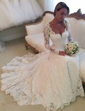 2016 New Long Sleeves White/Ivory Lace Wedding Dresses Bridal Gown Custom Size
