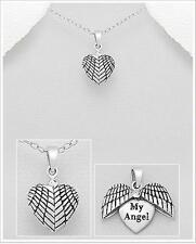"""Feathers Wings Guardian """" My Angel """" 925 Sterling Silver Charm Pendant Necklace"""