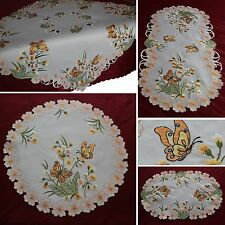 Butterfly Doily Table runner Tablecloth Cream-White Orange Flower Embroidery NEW