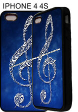 For iPhone 4s 5s 6 6 Plus 7 Clef Note Treble Sound Music Blue Phone Case Cover