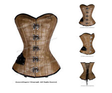 Full Steel Boned Heavy Lacing Faux Leather Overbust Shaper Corset #8329(FL)