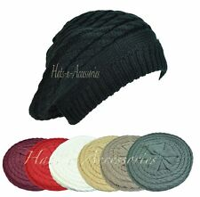 Double Ply Cable Knit Crochet Beret Tam Newsboy Ski Beanie Slouchy Ladies Hat