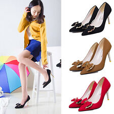 Women Sexy Office Party Stiletto Pointed Toe Bow Leather High Heels Pumps Shoes