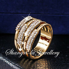 18K GOLD GP Women Wide WRAP RING Wedding PARTY Jewellery SWAROVSKI CRYSTAL R2089