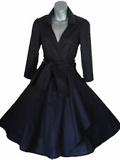 VINTAGE 50'S STYLE ROCKABILLY PINUP SWING WRAP EVENING PARTY DRESS SIZES 4 - 26