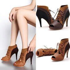Women Faux Leather Sexy Peep Toe Lace Up Pump High Heels Shoes Sandals Stiletto