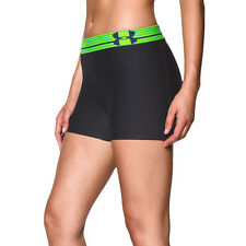 Under Armour Armour Womens Green Black HeatGear Compression Shorts Pants