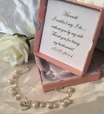 WEDDING PEARL CHARM BRACELET PINK & IVORY WEDDING PERSONALISED MESSAGE IN BOX