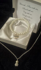 BRIDESMAID WEDDING JEWELLERY GIFT NECKLACE BRACELET PEARL IVORY PERSONALISED BOX