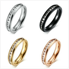 women's sz 5-9 stainless steel wedding band Girl anniversary cubic zirconia ring