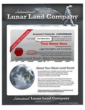 LUNAR LAND CERTIFICATE -- Buy Land On The Moon -- 1, 5 or 100 ACRES -- PDF Email