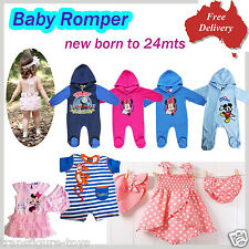 age new born-size 2 baby boys girls cute rompers toddlers kids one pieces