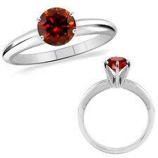 2 Carat Red Diamond Solitaire Engagement Wedding Promise Ring 14K White Gold