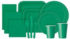 Green Solid Colour Paper Tableware - Plates, Napkins, Cups, Plastic Cutlery