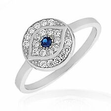 925 Sterling Silver White Blue CZ Evil Eye Protection Ring Band