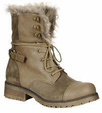 Lace Up Military Combat Low Flat Heel Ankle Boot Fur Cuff Womens Shoes Bootie