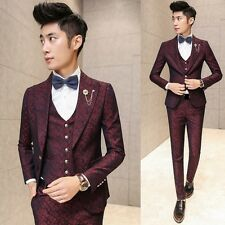 New Men's Premium Jacquard Slim Fit Prom Tuxedo Wedding Suit Jacket Vest Pants