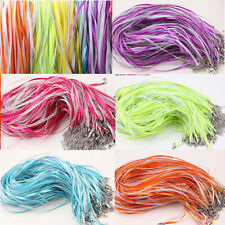 5/20Pcs Lobster Clasp Organza Ribbon Waxen Cord Necklace DIY Jewelry Findings