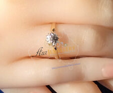 Real Genuine 9K Solid Yellow Gold YG Genuine Natural Diamond Engagement Ring