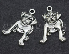 Lot 8/30/150pcs Tibetan Silver Lovely Pug Jewelry Finding Charms Pendant 21x18mm