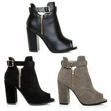 WOMENS LADIES BLACK SUEDE LEATHER HIGH MID BLOCK HEEL PEEP TOE ANKLE STRAP BOOTS