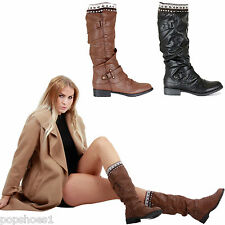 LADIES WOMENS LOW FLAT HEEL KNEE CALF WINTER RIDING ZIP BLACK BIKER BOOTS SIZE