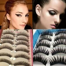 5/10 Pairs Long Thick Cross False Eyelashes Makeup Natural Fake Black Eye Lashes