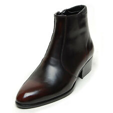 """Men's Brown Leather comfy cushioned collar side zip 1.77"""" high heel ankle boots"""