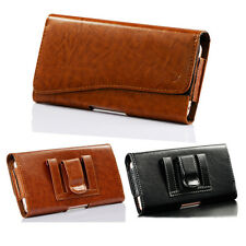 Horizontal Leather Holster Belt Clip Carrying Case Pouch For iPhone Samsung HTC
