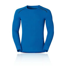 Odlo Mens Blue Thermal Long Sleeve Crew Neck Warm Fitted Running Sports Top