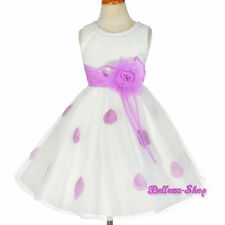 Rhinestone Ivory Purple Petals Dress Wedding Flower Girl Party Size 2T-10 FG294