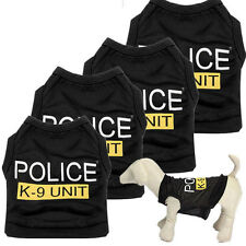 Hot Dog Cat Vest Puppy T-Shirt Pet Dog Clothes Black Police Summer Vest Cool Air