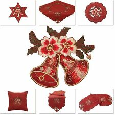 Red Christmas Flower Bell Table Cloth Runner Doily Cushion Cover Set Linen-look