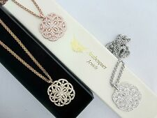 ARABESQUE JEWELS DISC NECKLACE/PENDANT/CHAIN GENUINE CRYSTAL COIN VINTAGE DESIGN