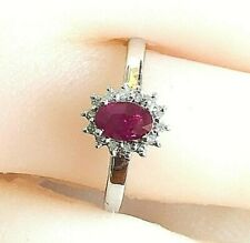 Real 9K Solid White Gold 0.68ct TW Genuine Ruby & Genuine Diamond Halo Ring