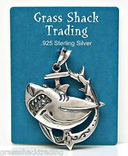 SHARK on ANCHOR Solid Sterling Silver Charm - Pendant w/ Options #1849