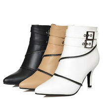Ankle Short Thick High Heel Pointy Full Zip Lady Shoes Women Boots UK Size H018