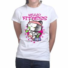 Hello Fitness Running Training New Kitty Gym Sports Womens Ladies T shirt Top