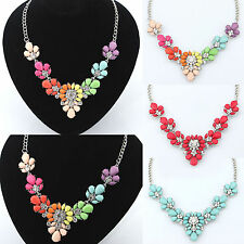 New Fashion Colorful Resin Crystal Flower Chunky Choker Statement Bib Necklace