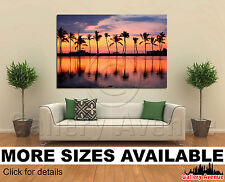 Wall Art Canvas Picture Print - Paradise beach sunset tropical palm trees 3.2