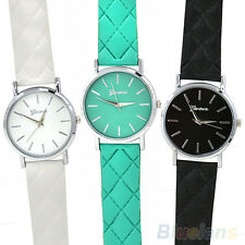 Men Women Dedicated Trendy Geneva Checkers Faux Leather Strap Quartz Wrist Watch