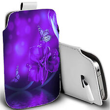 pu leather pull tab pouch case for most Mobiles - water flower pouch