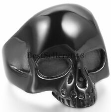 Mens Punk Black Alien Skull Ring Gothic Rock Biker Polished Stainless Steel Band