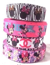 """1m MINNIE MOUSE GROSGRAIN RIBBON 22mm 7/8"""" HAIR BOW BAND CRAFTS DUMMY CLIPS CAKE"""