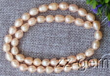 SP0009  Natural 7-8MM pink Rice Freshwater pearl loose Beads 15''