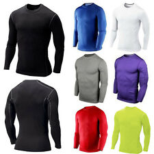 Mens Compression Thermal Under Base Layer Top Long Sleeve Tights Sports T-shirts