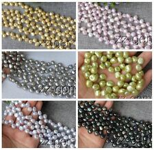 SP0267q  8-9MM natural Top-drilled potato Freshwater pearl loose Beads 15''