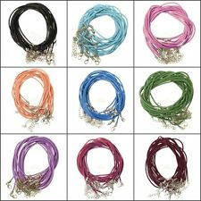 Wholesale 10/100pcs Real Leather 2mm Cord Necklace with Lobster Clasp Charms