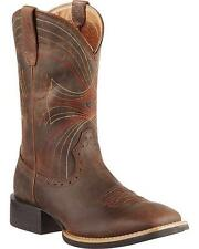 Ariat Sport Wide Square Toe Distressed Brown Men's Western Boot