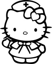 Hello Kitty - Nurse - Vinyl Car Window and Laptop Decal Sticker